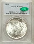 Peace Dollars, 1923 $1 MS66+ PCGS. CAC....