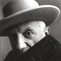 Photographs:20th Century, IRVING PENN (American, 1917-2009). Picasso, Cannes, France,1957. Gelatin silver, before 1965. 22-1/4 x 22-1/2 inches (5...