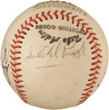 Baseball Collectibles:Balls, Satchel Paige and Others Multi Signed Baseball....