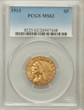 Indian Half Eagles: , 1913 $5 MS62 PCGS. PCGS Population (2774/1971). NGC Census:(4240/1579). Mintage: 915,900. Numismedia Wsl. Price for proble...