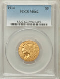 Indian Half Eagles: , 1914 $5 MS62 PCGS. PCGS Population (647/744). NGC Census:(781/523). Mintage: 247,000. Numismedia Wsl. Price for problemfr...