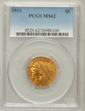 Indian Half Eagles: , 1911 $5 MS62 PCGS. PCGS Population (2138/1403). NGC Census:(3296/1368). Mintage: 915,000. Numismedia Wsl. Price for proble...