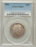 Proof Barber Quarters, 1892 25C PR64 PCGS....