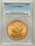 Liberty Double Eagles, 1907-S $20 MS62 PCGS....