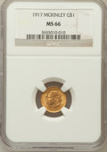 Commemorative Gold, 1917 G$1 McKinley MS66 NGC....