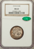 Barber Quarters: , 1915-D 25C MS63 NGC. CAC. NGC Census: (125/242). PCGS Population(144/361). Mintage: 3,694,000. Numismedia Wsl. Price for p...