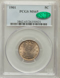 Liberty Nickels: , 1901 5C MS65 PCGS. CAC. PCGS Population (177/43). NGC Census:(161/38). Mintage: 26,480,212. Numismedia Wsl. Price for prob...