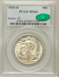 Walking Liberty Half Dollars: , 1935-D 50C MS64 PCGS. CAC. PCGS Population (629/550). NGC Census:(445/155). Mintage: 3,003,800. Numismedia Wsl. Price for ...
