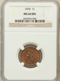 Indian Cents: , 1878 1C MS64 Brown NGC. NGC Census: (53/28). PCGS Population(25/5). Mintage: 5,799,850. Numismedia Wsl. Price for problem ...
