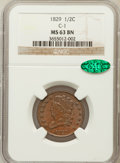 Half Cents: , 1829 1/2 C MS63 Brown NGC. CAC. C-1. NGC Census: (36/52). PCGSPopulation (35/33). Mintage: 487,000. Numismedia Wsl. Price...