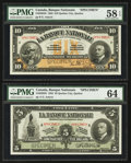 Canadian Currency: , Quebec, PQ- La Banque Nationale $5, $10 Nov. 2, 1922 Ch. # 510-22-02S, 510-22-04S. ... (Total: 2 notes)