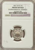 Proof Shield Nickels, 1867 5C Rays -- Environmental Damage -- NGC Details. Proof. NGCCensus: (0/17). PCGS Population (0/34). Mintage: 25. Nu...