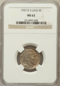 Buffalo Nickels, 1937-D 5C Three-Legged MS62 NGC. FS-901....