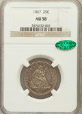 Seated Quarters: , 1857 25C AU58 NGC. CAC. NGC Census: (41/289). PCGS Population(29/227). Mintage: 9,644,000. Numismedia Wsl. Price for probl...