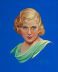 Pin-up and Glamour Art, MILA BAINE (American, 20th Century). Mary Carlisle, Movie Magcover. Pastel on board. 19 x 15.25 in. (image). Signed low...