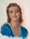 Pin-up and Glamour Art, Attributed to BRADSHAW CRANDELL (American, 1896-1966). Portraitof a Woman in Blue. Pastel on board. 19.5 x 15 in. (imag...