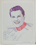 Movie/TV Memorabilia:Autographs and Signed Items, A Robert Cummings Signed Drawing (1940)....