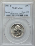 Washington Quarters: , 1991-D 25C MS66 PCGS. PCGS Population (78/3). NGC Census: (19/8).Mintage: 630,966,720. Numismedia Wsl. Price for problem f...
