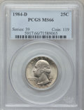 Washington Quarters: , 1984-D 25C MS66 PCGS. PCGS Population (86/8). NGC Census: (31/5).Mintage: 546,483,072. Numismedia Wsl. Price for problem f...