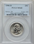 Washington Quarters: , 1996-D 25C MS68 PCGS. PCGS Population (35/0). NGC Census: (5/1).Mintage: 906,867,968. Numismedia Wsl. Price for problem fr...