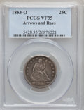 Seated Quarters: , 1853-O 25C Arrows and Rays VF35 PCGS. PCGS Population (13/78). NGCCensus: (2/63). Mintage: 1,322,000. Numismedia Wsl. Pric...