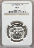 Commemorative Silver: , 1926 50C Oregon MS65 NGC. NGC Census: (664/386). PCGS Population(849/480). Mintage: 47,955. Numismedia Wsl. Price for prob...