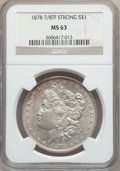 Morgan Dollars: , 1878 7/8TF $1 Strong MS63 NGC. NGC Census: (1519/1102). PCGSPopulation (2401/1667). Mintage: 544,000. Numismedia Wsl. Pric...
