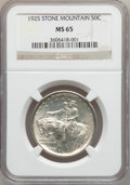 Commemorative Silver: , 1925 50C Stone Mountain MS65 NGC. NGC Census: (2228/788). PCGSPopulation (2164/927). Mintage: 1,314,709. Numismedia Wsl. P...