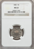 Shield Nickels: , 1882 5C MS63 NGC. NGC Census: (134/519). PCGS Population (258/616).Mintage: 11,476,000. Numismedia Wsl. Price for problem ...