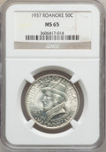 Commemorative Silver: , 1937 50C Roanoke MS65 NGC. NGC Census: (1492/1194). PCGS Population(2185/1448). Mintage: 29,030. Numismedia Wsl. Price for...