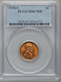 Lincoln Cents: , 1938-S 1C MS67 Red PCGS. PCGS Population (227/0). NGC Census:(759/0). Mintage: 15,180,000. Numismedia Wsl. Price for probl...
