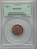 Lincoln Cents: , 1911 1C MS65 Red and Brown PCGS. PCGS Population (70/5). NGCCensus: (70/4). Mintage: 101,177,784. Numismedia Wsl. Price fo...