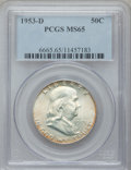 Franklin Half Dollars: , 1953-D 50C MS65 PCGS. PCGS Population (130/11). NGC Census:(395/7). Mintage: 20,900,400. Numismedia Wsl. Price for problem...