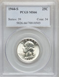 Washington Quarters: , 1944-S 25C MS66 PCGS. PCGS Population (677/92). NGC Census:(875/312). Mintage: 12,560,000. Numismedia Wsl. Price for probl...