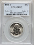 Washington Quarters: , 1970-D 25C MS67 PCGS. PCGS Population (188/3). NGC Census: (145/0).Mintage: 417,341,376. Numismedia Wsl. Price for problem...