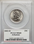 Statehood Quarters: , 2003-D 25C Arkansas MS68 PCGS. PCGS Population (92/0). NGC Census:(30/2). Numismedia Wsl. Price for problem free NGC/PCGS...