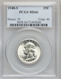Washington Quarters: , 1948-S 25C MS66 PCGS. PCGS Population (829/49). NGC Census:(1150/283). Mintage: 15,960,000. Numismedia Wsl. Price for prob...