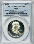 Proof Franklin Half Dollars: , 1956 50C Type Two PR67 Deep Cameo PCGS. PCGS Population (257/425).NGC Census: (80/235). Numismedia Wsl. Price for problem...