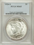 Peace Dollars: , 1926-S $1 MS65 PCGS. PCGS Population (593/67). NGC Census:(395/30). Mintage: 6,980,000. Numismedia Wsl. Price for problem ...