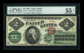 Large Size:Legal Tender Notes, Fr. 41 $2 1862 Legal Tender PMG About Uncirculated 55 Net....