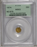 California Fractional Gold: , 1874 25C Indian Round 25 Cents, BG-875, High R.4, MS63 PCGS. PCGSPopulation (16/33). (#10736)...