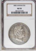 Coins of Hawaii: , 1883 $1 Hawaii Dollar AU55 NGC. NGC Census: (30/89). PCGSPopulation (35/99). Mintage: 500,000. (#10995)...
