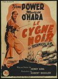 "Movie Posters:Adventure, The Black Swan (20th Century Fox, 1942). French Petite (23.5"" X31.5""). Adventure. Starring Tyrone Power, Maureen O'Hara, La..."