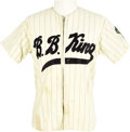 "Music Memorabilia:Memorabilia, B.B. King Baseball Tour Jersey. A baseball-style tour jersey, whitewith light blue pinstripes, with ""B.B. King"" on the fron... (Total:1 Item)"