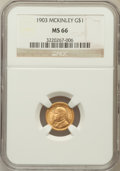 Commemorative Gold, 1903 G$1 Louisiana Purchase/McKinley MS66 NGC....