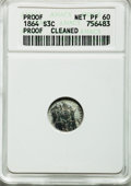 Proof Three Cent Silver: , 1864 3CS -- Cleaned -- ANACS. Proof, Net PR60. NGC Census: (0/141). PCGS Population (1/169). Mintage: 470. Numismedia Wsl. ...