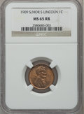 Lincoln Cents: , 1909-S 1C S Over Horizontal S MS65 Red and Brown NGC. NGC Census:(29/2). PCGS Population (35/3). ...