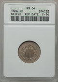 Shield Nickels: , 1866 5C Rays MS64 ANACS. Repunched Date, F-14. NGC Census:(536/190). PCGS Population (446/166). Mintage: 14,742,500. Numis...