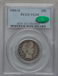 Barber Quarters: , 1909-O 25C VG10 PCGS. CAC. PCGS Population (14/130). NGC Census:(1/50). Mintage: 712,000. Numismedia Wsl. Price for proble...