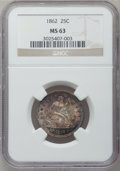 Seated Quarters: , 1862 25C MS63 NGC. NGC Census: (17/62). PCGS Population (29/64).Mintage: 932,000. Numismedia Wsl. Price for problem free N...